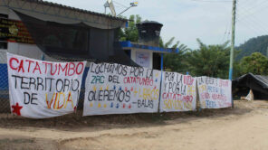 Banners for peace hand outside a house